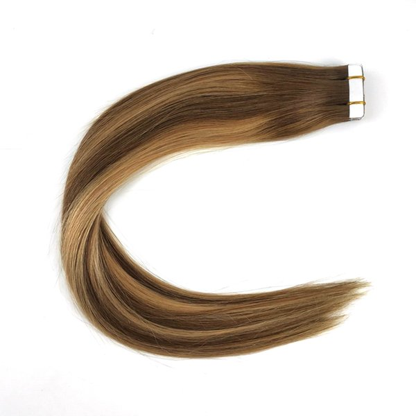 Tape Hair Extensions Glue in Extensions Human Hair Color #4 P #4 Fading to #27 20 Piece 50g Per Pack Ombre Balayage
