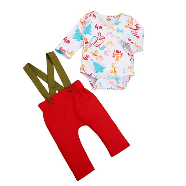 Newborn Baby Boy Girl Christmas Clothes Infant Baby Boy Girl Xmas Floral Printed Long Sleeve Tops Romper Suspender Pants 3-12M