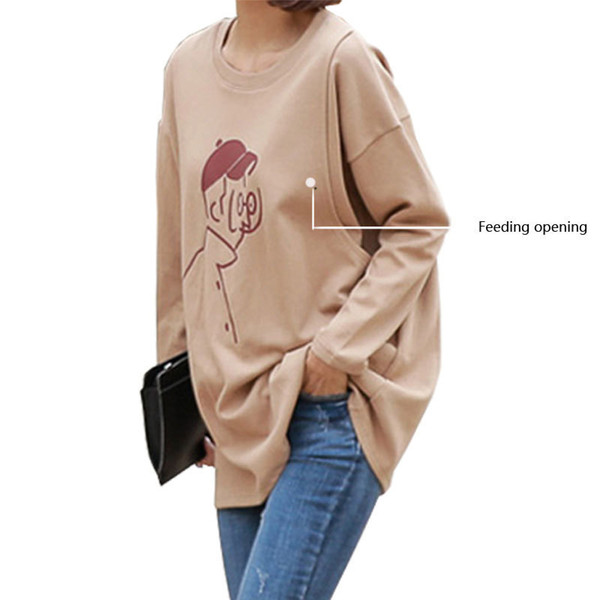 Postpartum For Baby Breastfeeding T Shirt Spring Full Sleeve Knit Cotton Plus Size 4xl Clothes For Nursing Mothers Maternity Top Y190529