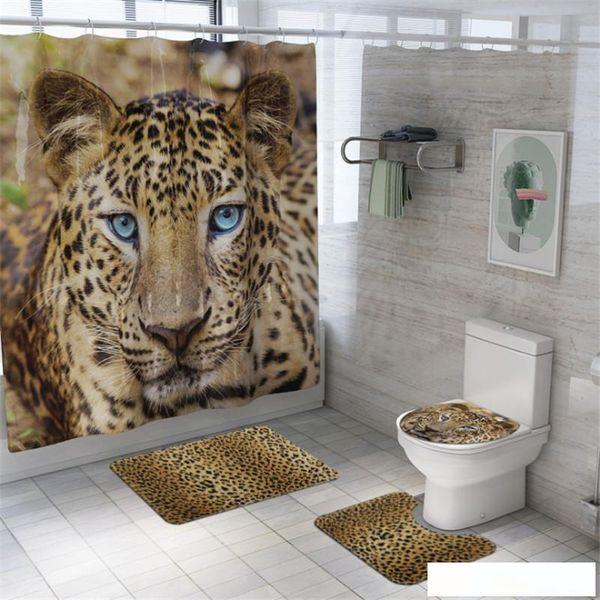 4pcs Banho Shower Curtain conjunto impermeável leopardo Banho Curtain Set WC tampa tapete antiderrapante com chuveiro