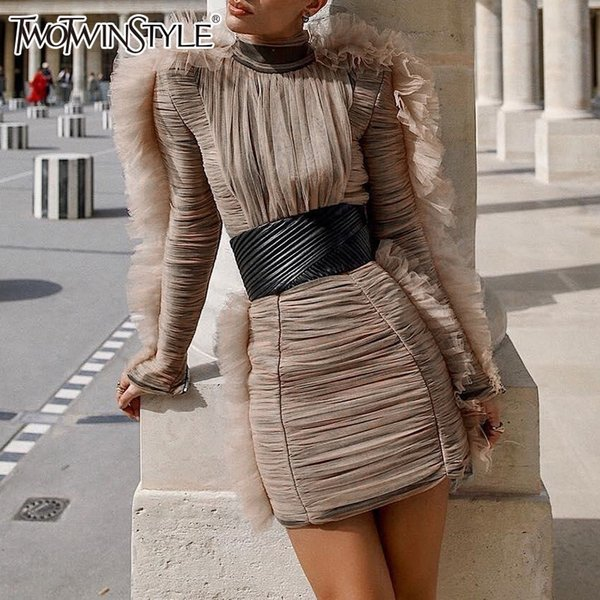 Twotwinstyle Evening Party Dress Female Turtleneck Puff Long Sleeve High Waist Mini Dresses Women 2019 Spring Fashion Clothes Y19053001