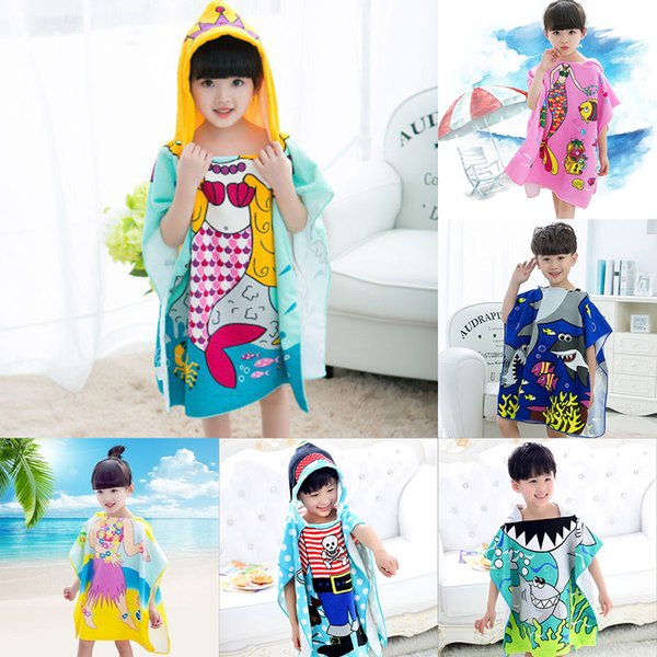 top popular 19 styles Mermaid bathrobe Kids Robes cartoon animal shark Nightgown Children Towels Hooded bathrobes C2508 2020