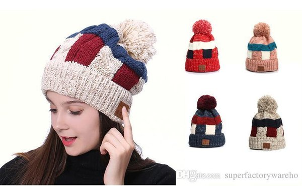Pop Wireless Earbuds Hat Bluetooth Hats 4.2 Wireless Call Headphones Music Hat Knit Cap Plus Velvet Warm Bluetooth Hat By Epacket