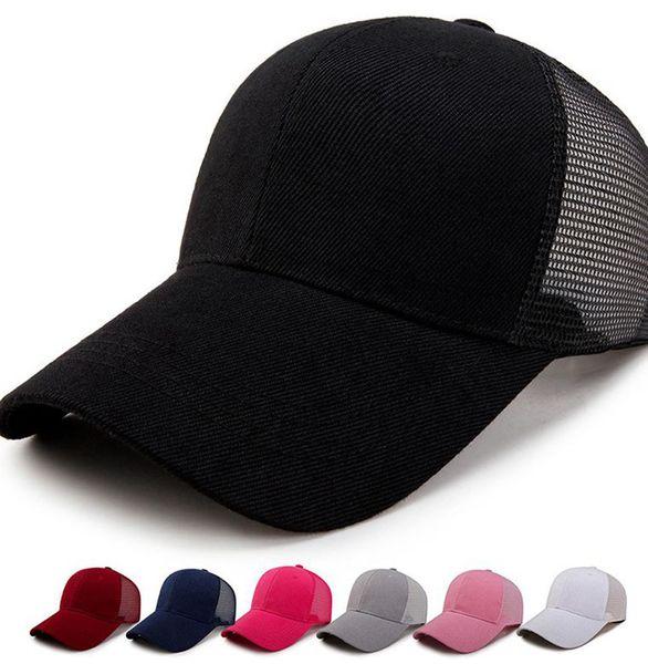 best selling Adult Ponytail hat solid color Summer New Classic Trucker Kids Baseball Mesh Cap High Bun Ponytail party hats LJJK2223