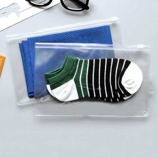 Thick PVC Socks Bag with Hole Pen Bag Transparent Frosted Waterproof Zip Lock Underwear Bag Envelope Binder Pocket