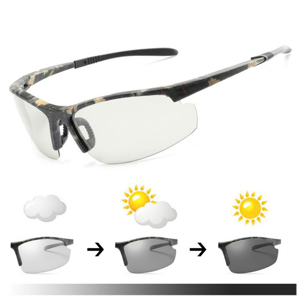 Camouflage Frame Photochromic Polarized Glasses Cycling Eyewear Bicycle Glass MTB Bike Bicycle Riding Fishing Cycling Sunglasses