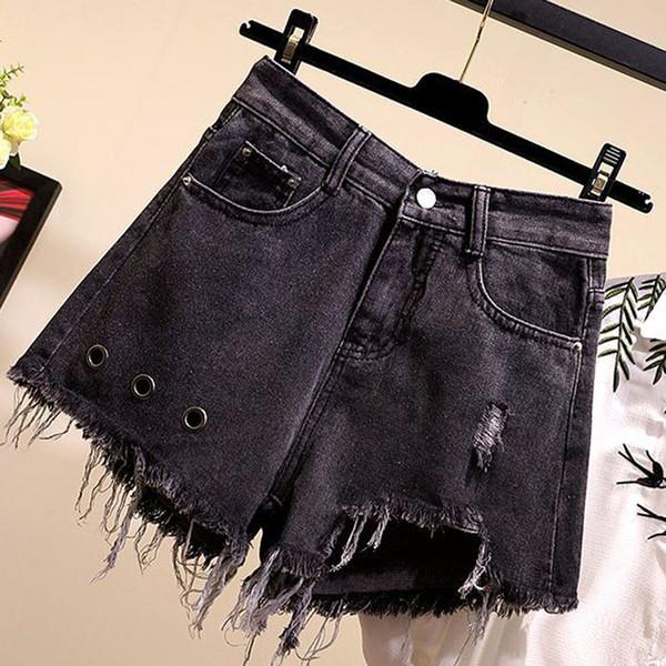 Mode Frauen Für Jeans Plus Size Solide Tasche Loch Jeans Hose Breites Bein Beiläufige Sexy Shorts Hosen das senhoras L42
