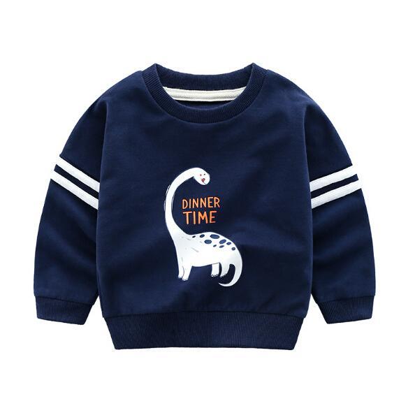 Children's Hoodies spring new dinosaur casual round neck cartoon shirt T-shirt factory wholesale