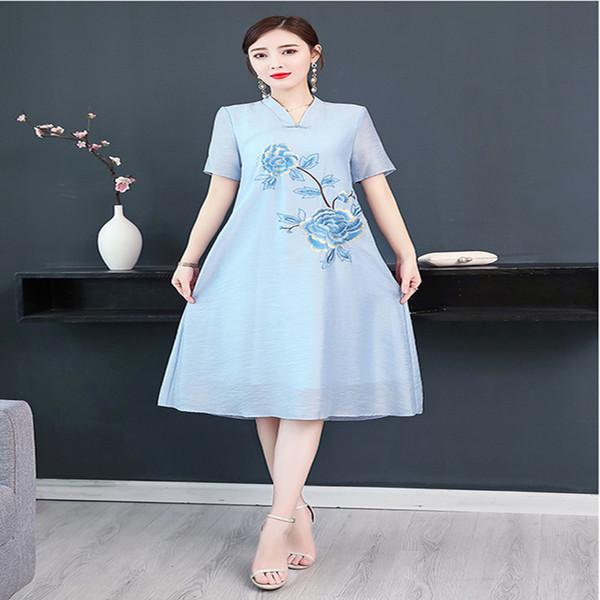 Новый шелковый цветочный богемный халат femme 2019 летние винтажные женские платья плюс размер свободная вышивка платье женщин