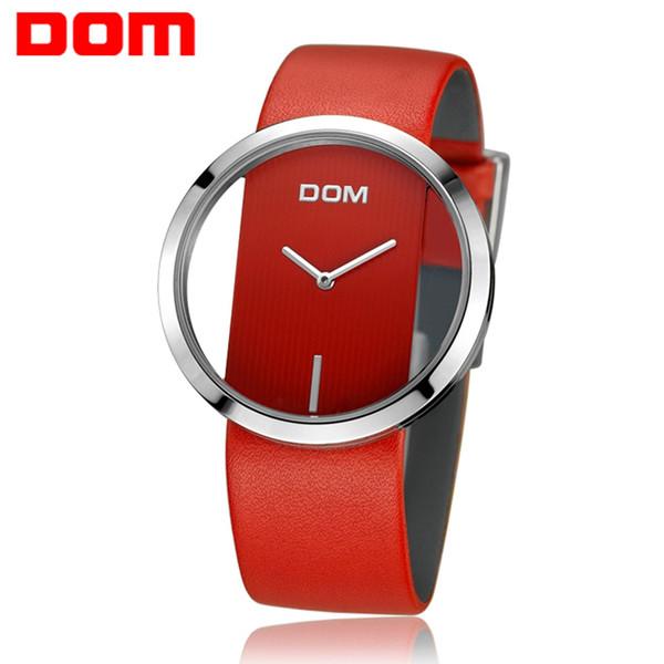 Toptan Saatler Kadınlar Kırmızı Kız Lüks Moda Rahat Basit Kuvars Benzersiz Şık Hollow İskelet Saatler Deri Spor Lady Saatı