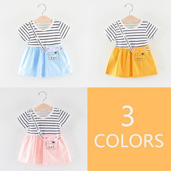 Niñas niños verano vestido encantador lindo rayas de impresión falso de dos piezas de fondo de manga corta dulce princesa dress super