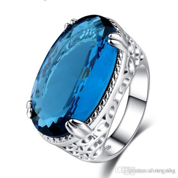 2018 Luxury Fashion Hip hop human Blue Stone Party Crystal anniversary Gem sapphire Ring Women Men Brithday promotion Gift Trendy Jewelry