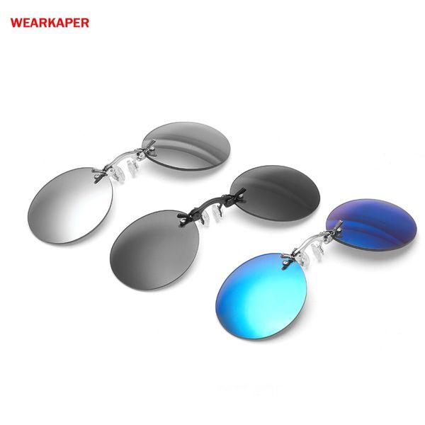 Großhandel mini clip nose sonnenbrille frauen männer runde metall shades hacker reich muffies randlose sonnenbrille oculos de sol