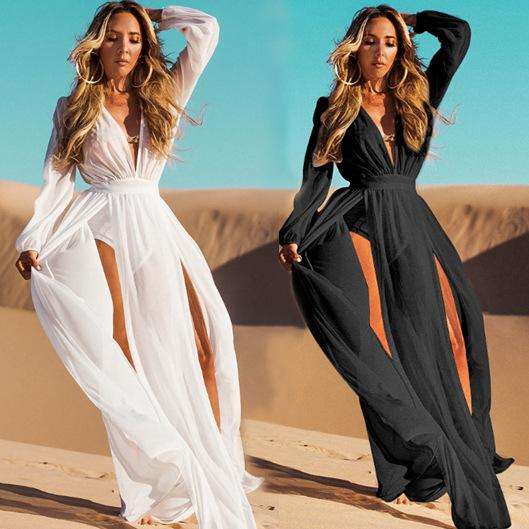 Beach Dresses And Tunics Swim Cover Up For Women Dress Bathing Suits 2019 Chiffon Neck Forked Long Sleeve Skirt Sexy Solid