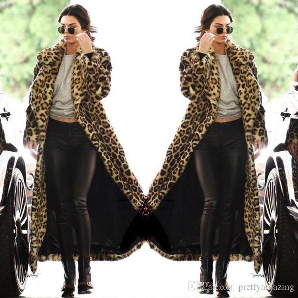 Novo estilo Chegada concisa Mulheres moda sexy leopardo Outwear longo e quente Grosso Fur Cotton Parka Magro Brasão Jacket