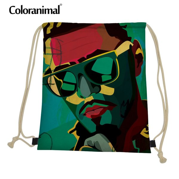 Coloranimal African Traditional Drawstring Bag Dai Chris Art 3D Hand-paint Print Men Gym Backpack String Shoulder Bagpack Women