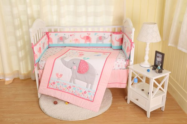 2019 new style 100% polyester pink elephant baby bedding set-comforter, crib sheet, crib skirt, bumpers for boy and girl infant
