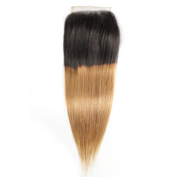 Ombre Bal Sarışın 4x4 Dantel Kapatma Brezilyalı Virgin İnsan Saç Rengi 1B 27 Perulu Hint Malezya Düz Vücut Dalga 8-20 Inç