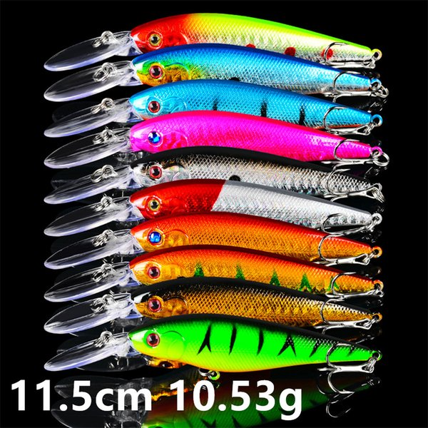 top popular 10 Color 11.5cm 10.53g Minnow Fishing Hooks Fishhooks 6# Hook Fishing Lure Hard Baits & Lures Pesca Fishing Tackle Accessories FS_21 2020