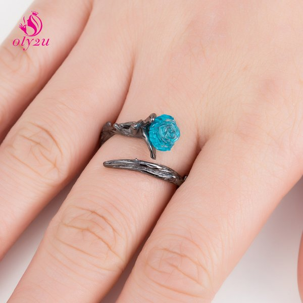 Oly2u Charm Blue Rose Flower&Thorn Floral Open Ring Fairy Tale Style Adjustable Rings for Women Girls Anel