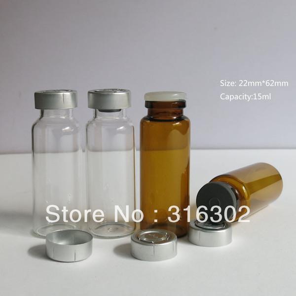 Las botellas de los viales de la inyección del vidrio ambarino 15ML con el metal rasgan apagado los tapones butyl del silicón 500 de la tapa