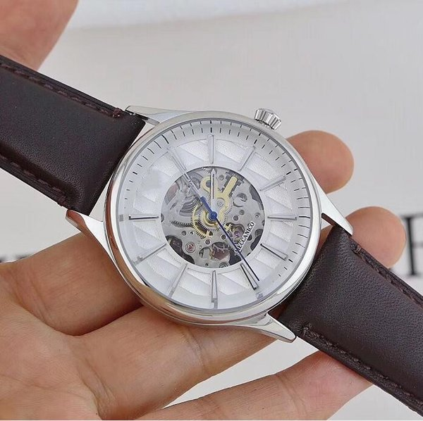 new Classic fashion Skeleton Dial Autometic machine Men's Watch Brown Leather Strap AR1946 AR1945 AR1947 free shipping