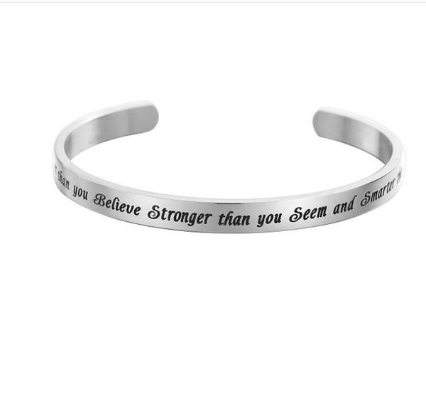 "Fashion Inspirational Letter Silver ""you are Braver then you believe, stronger then you seam Open Cuff Stainless Steel Bracelet Jewelry Gift"