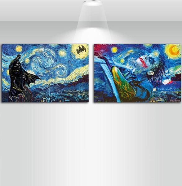 Joker Yıldız Gece Van Gogh, 3 adet Kanvas Duvar Sanatı Yağlıboya Resim Ev Dekorasyonu (Çerçevesiz / Çerçeveli) 16x24x2.