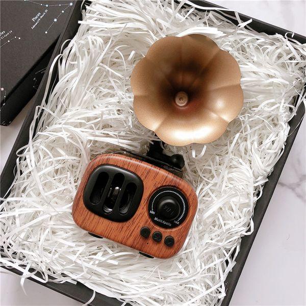 European-style Retro phonograph Wood Bluetooth Speaker Radio Mini Jukebox model Wireless Music Audio Player gift box