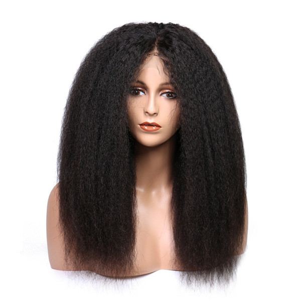Brazilian full lace hair wigs natural color lace front yaki straight human hair wigs 150% density with baby hair no shedding for women