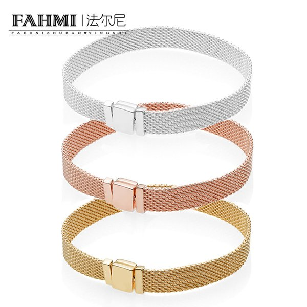 FAHMI 100% 925 Sterling Silver 597712 567712 587712 ROSE SHINE REFLEXIONS BRACELET Women's Wedding Vintage Charm Luxury Jewelry