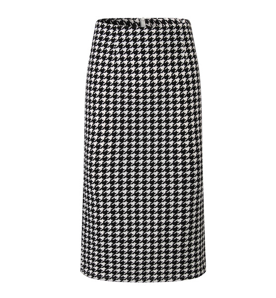 Women Summer Print Houndstooth Pencil Skirt Casual Mid-calf Plus Size Faldas Mujer Moda Jupe Femme Y19060501