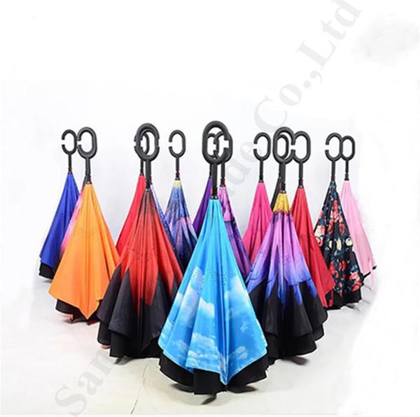 Imprimé floral arrière parapluie pliant doubles couches voiture Utiliser Parapluies Inside Out Inverted Self stand poignée C-Crochet Parapluies de pluie A112201