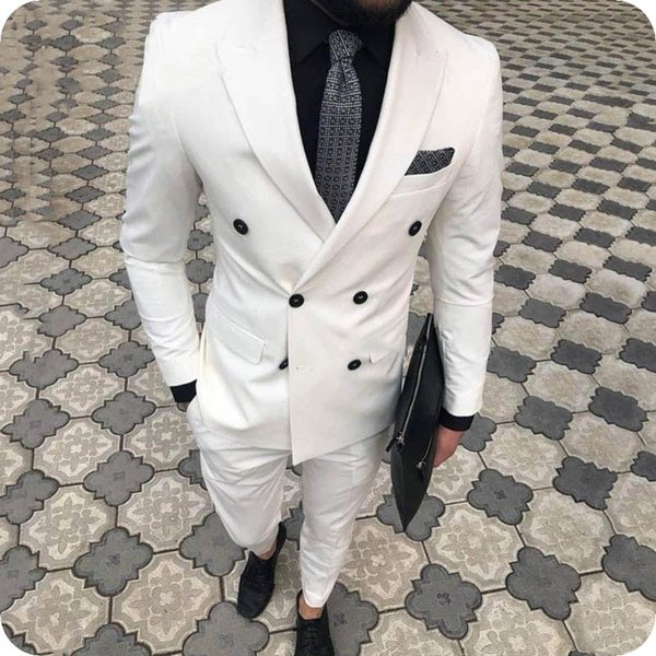 Latest Designs White Men Suits Casual Business Male Jacket Man Blazer Groom Tuxedos Wide Peaked Lapel Custom Made Costume Homme White Suit Jacket