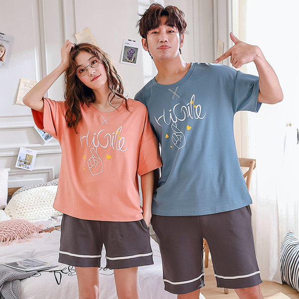 Plus Size M-3XL Lovers Pajamas Cotton Summer Women Short Pants Pajama Sets Short Sleeves Home Wear Casual Pyjamas For Couples