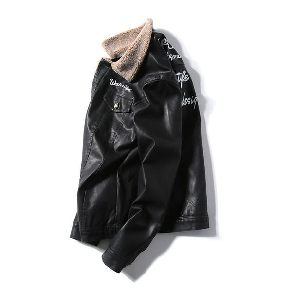 Turn-down yaka berber polar deri ceket deri giyim ince kısa tasarım motosiklet giyim pamuk