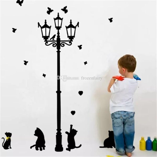 Ancient Lamp Cats and Birds Wall Sticker Large Size Wall Mural Nursery Home Decor Room Kids Decals Wallpaper Black Color bb29-35 2018010922