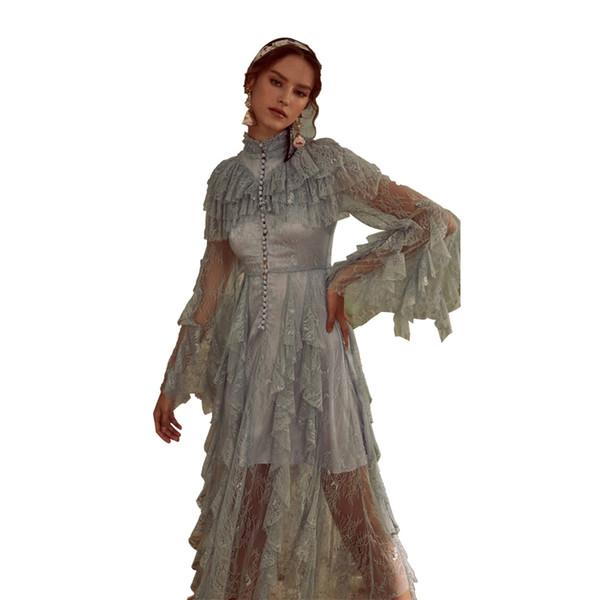 2019 весна женская приморская кружева Sheer винтаж фея длинное платье макси средневековое платье ренессанс платье принцессы викторианской платье