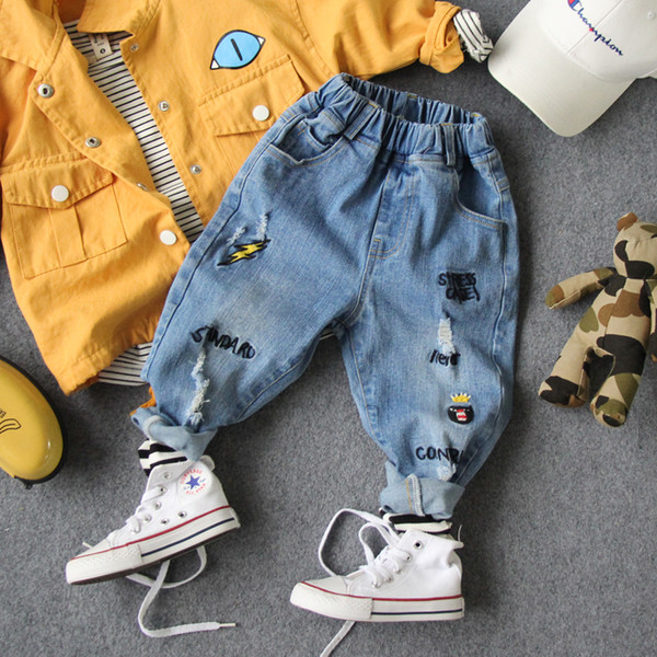 new 2019 spring boys embroidery denim pants fashion style spring boys jeans kids clothing kids boys jeans long length