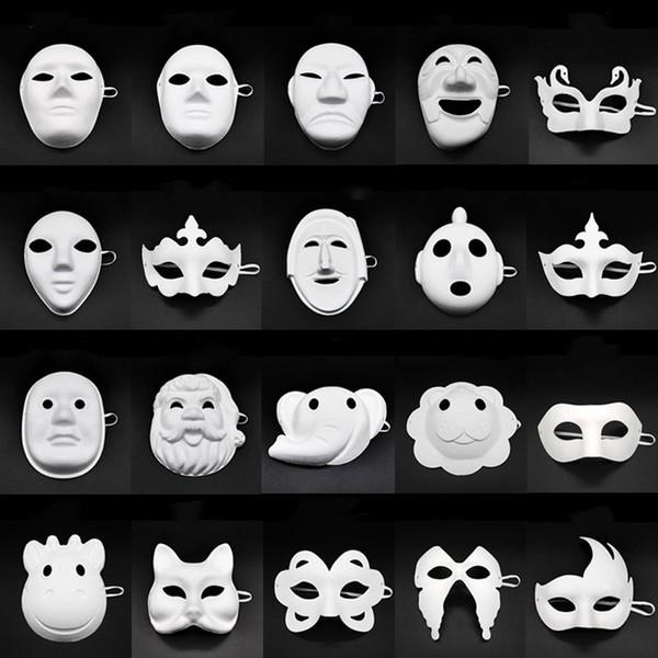 Papper DIY Party Mask Pintura creativa Halloween Chirstmas Party Mask Niños Mujeres Hombres DIY Half Face Máscaras faciales completas HHA666