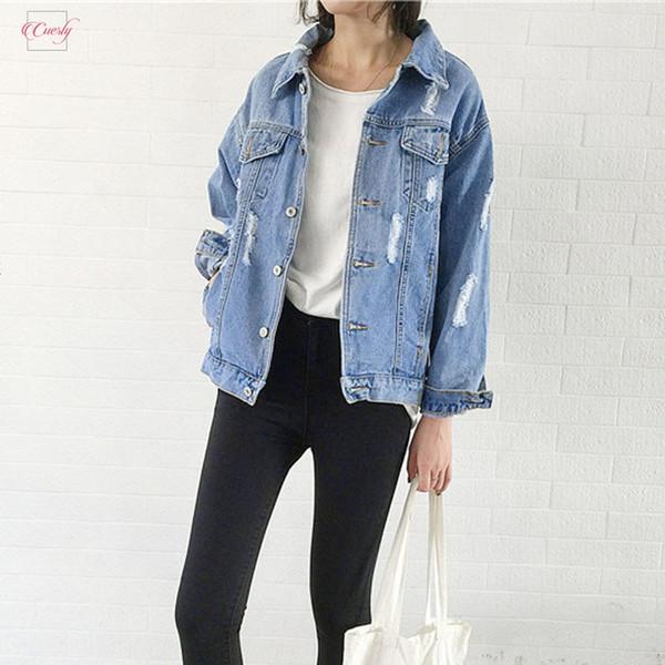 Femmes Veste en denim 2019 Manteau d'hiver de base Veste en jean pour femme Jeans Veste Outwear casaque Denim Casual