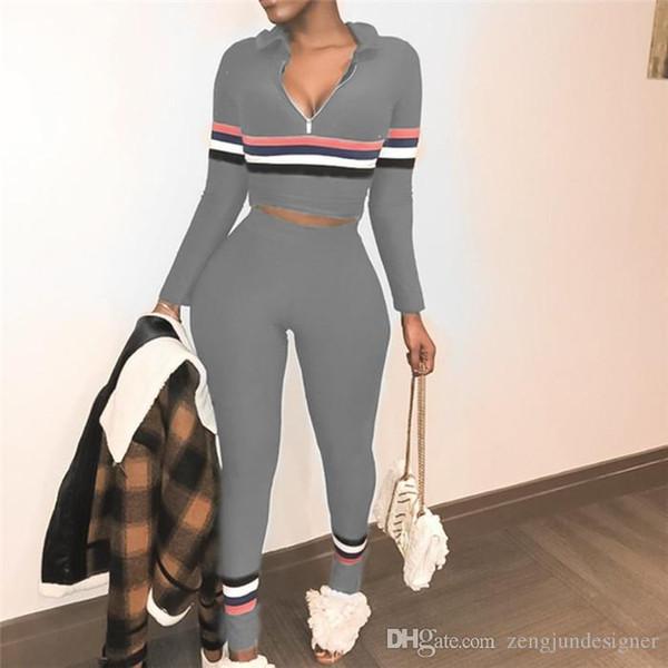 Frauen Sommer 2pcs Designer Hosen Rundhalsausschnitt Langarm einfarbig weibliche Kleidung Reißverschluss Mode Freizeitbekleidung