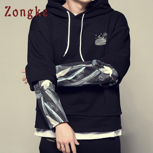 Zongke Harajuku Hip Hop Hoodie hombres ropa 2018 japonés Streetwear para hombre sudaderas con capucha sudaderas con capucha hombres sudadera con capucha sudadera 5XL