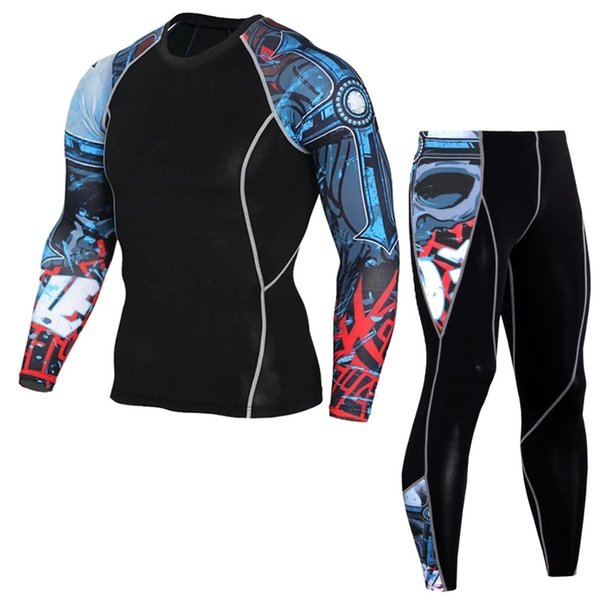 Mens Sports Running Sets Compression Quick Drying T Shirts Leggings Gym Fitness 3XL Base Layer Tracksuit Men Sportswear