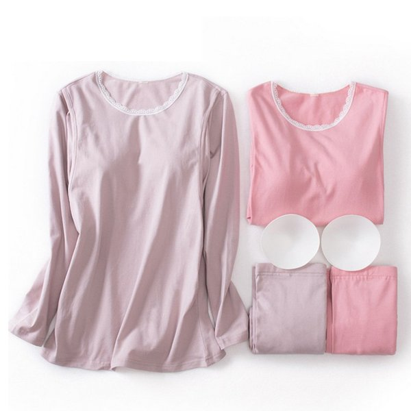 Maternity Pajamas Nursing Nightgown Autumn Cotton Lace Collar Underwear Side Open Breastfeeding Home Suit Pregnancy Clothes A312