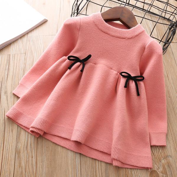 Bébés Filles Robe Tricotée 2018 Automne Hiver Vêtements Enfants Enfant En Bas Âge Tops Chemises Pour Fille Enfants Princesse Coton De Noël RobesMX190823