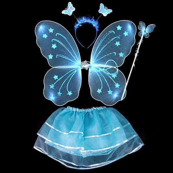 4Pcs Kids girls Fairy Princess Costume Sets colorful stage wear Butterfly Wings Wand Headband Tutu Skirt