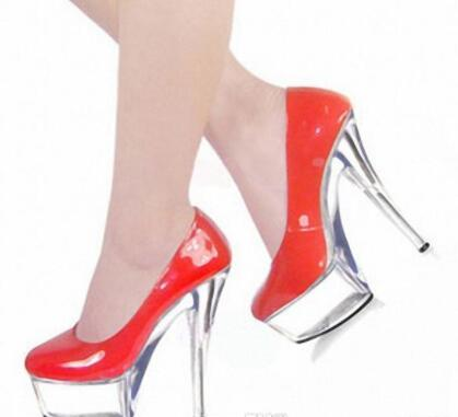 Customize Patent Leather Pump High Heel 15cm Heel With Platform 5cm Women Shoes Sexy Spike Heels Slip On Pump Womens Shoes