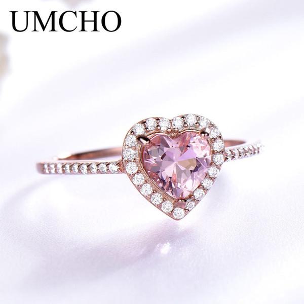 Umcho Pink Morganite Anillos Para Las Mujeres 925 Anillo de Plata Anillo de Boda de Compromiso del Corazón Regalo de San Valentín Joyería Fina MX190726