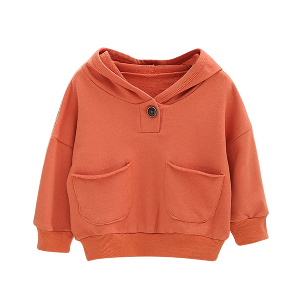 Autumn Toddler Baby Kids Boy Girl Hooded solid print Hoodie Sweatshirt Tops Clothes roupa infantil Clothes